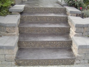 stamp stamped concrete step stair stairs stairway staircase riser skin color tint colour coloured colored tinted